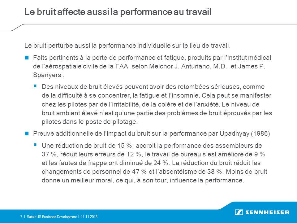 7 |Satair US Business Development | 11.11.2013 Le bruit affecte aussi la performance au travail Le bruit perturbe aussi la performance individuelle sur le lieu de travail.