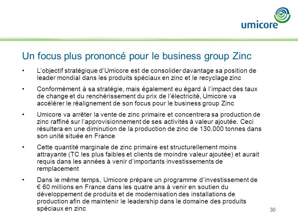 30 Lobjectif stratégique dUmicore est de consolider davantage sa position de leader mondial dans les produits spéciaux en zinc et le recyclage zinc Co