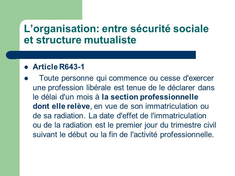 Lorganisation: entre sécurité sociale et structure mutualiste Article R643-1 Toute personne qui commence ou cesse d'exercer une profession libérale es