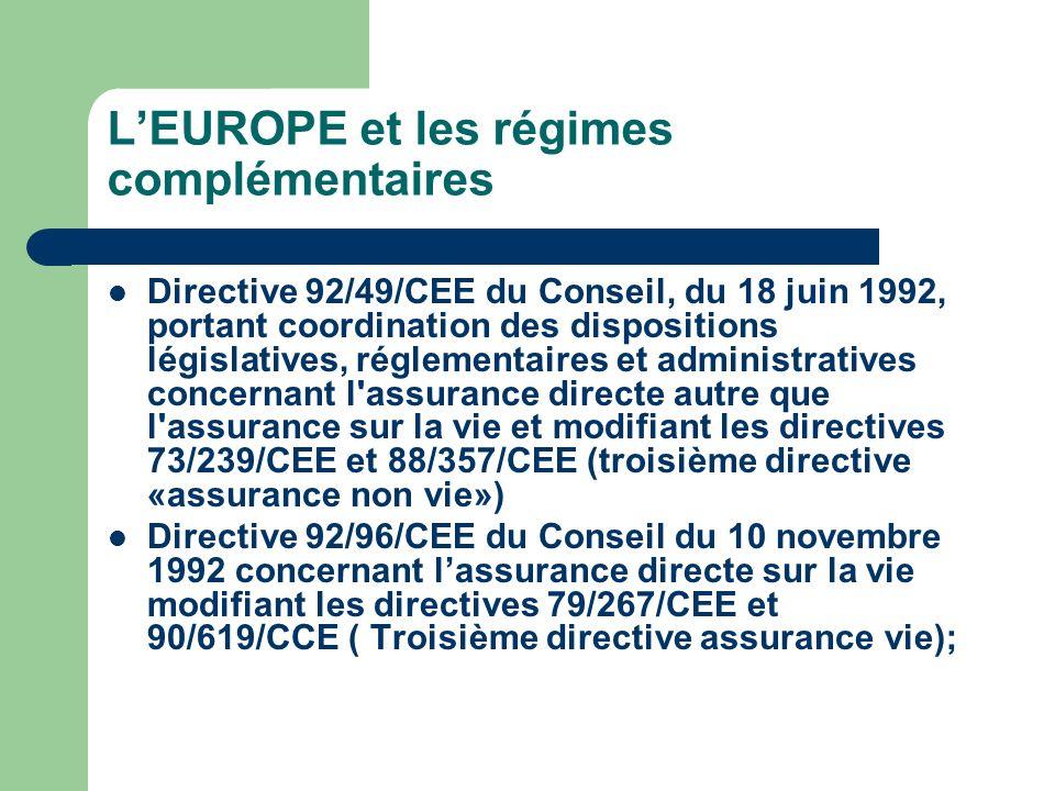 LEUROPE et les régimes complémentaires Directive 92/49/CEE du Conseil, du 18 juin 1992, portant coordination des dispositions législatives, réglementa