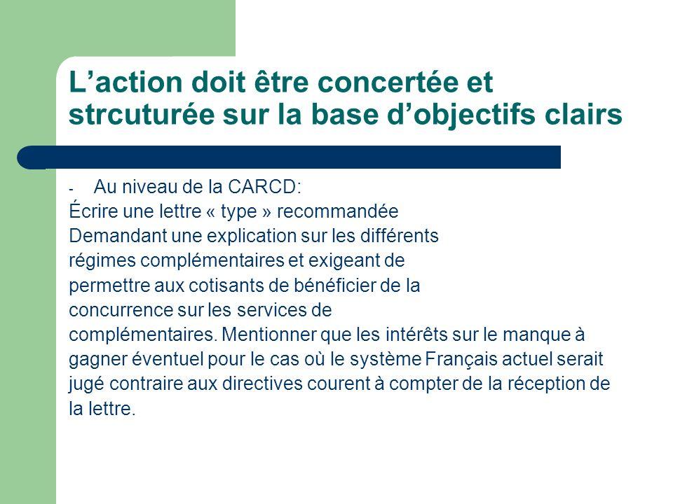 Laction doit être concertée et strcuturée sur la base dobjectifs clairs - Au niveau de la CARCD: Écrire une lettre « type » recommandée Demandant une