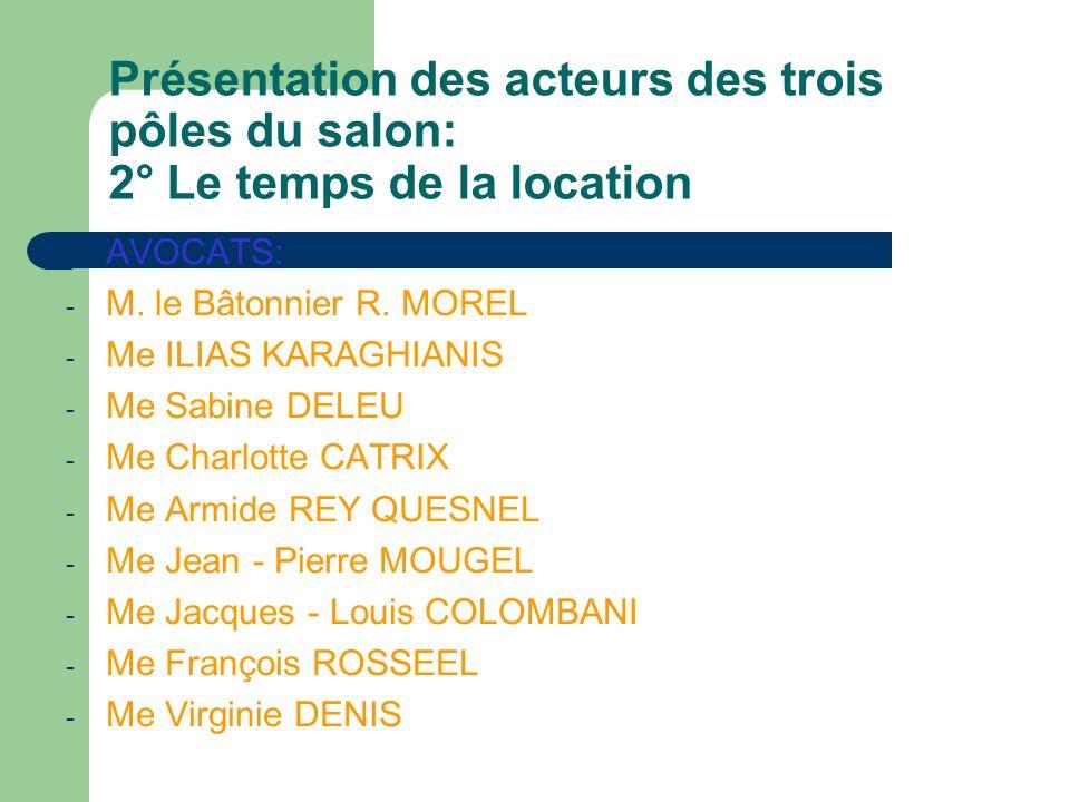 Présentation des acteurs des trois pôles du salon: 3° La sortie des lieux - SOUS PREFECTURE: Mme BLONDEZ Mme MORGANTE - Centre dInformation des Droits des Femmes (CIDF): Melle CNUDDE Mme LANNOY Mme HARS - CLCV: M BONDUELLE - Chambre Régionale des Propriétaires et Copropriétaires du Nord Pas de Calais et de la Somme: M.