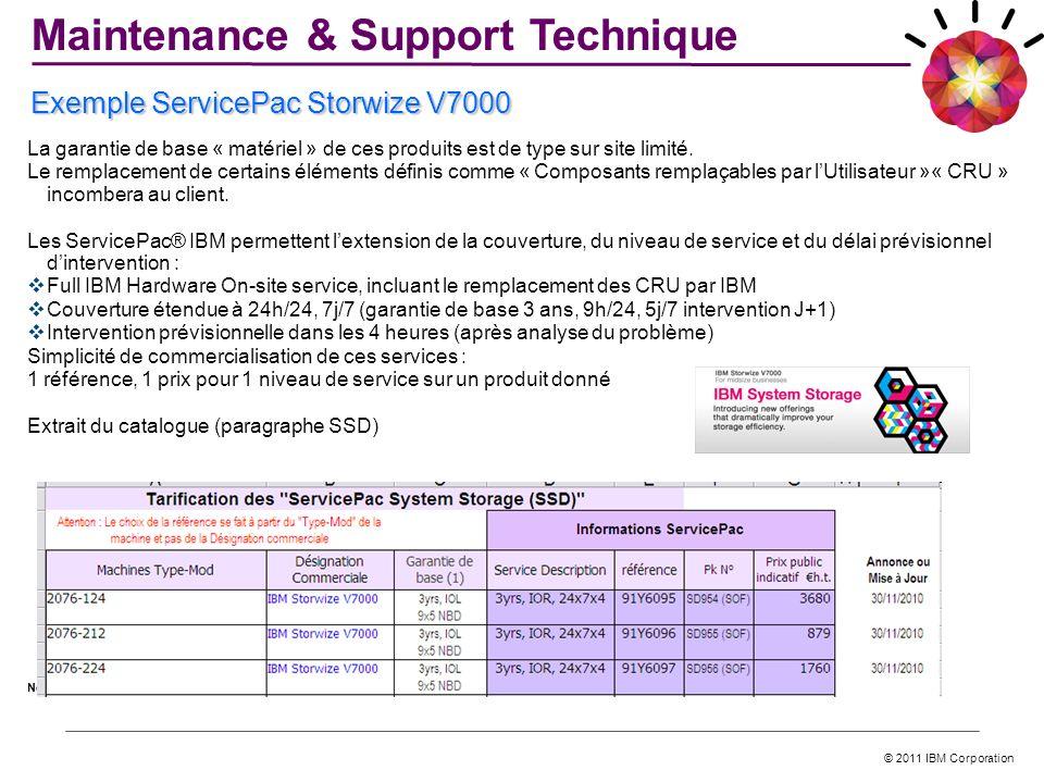 © 2011 IBM Corporation La garantie de base « matériel » de ces produits est de type sur site limité. Le remplacement de certains éléments définis comm