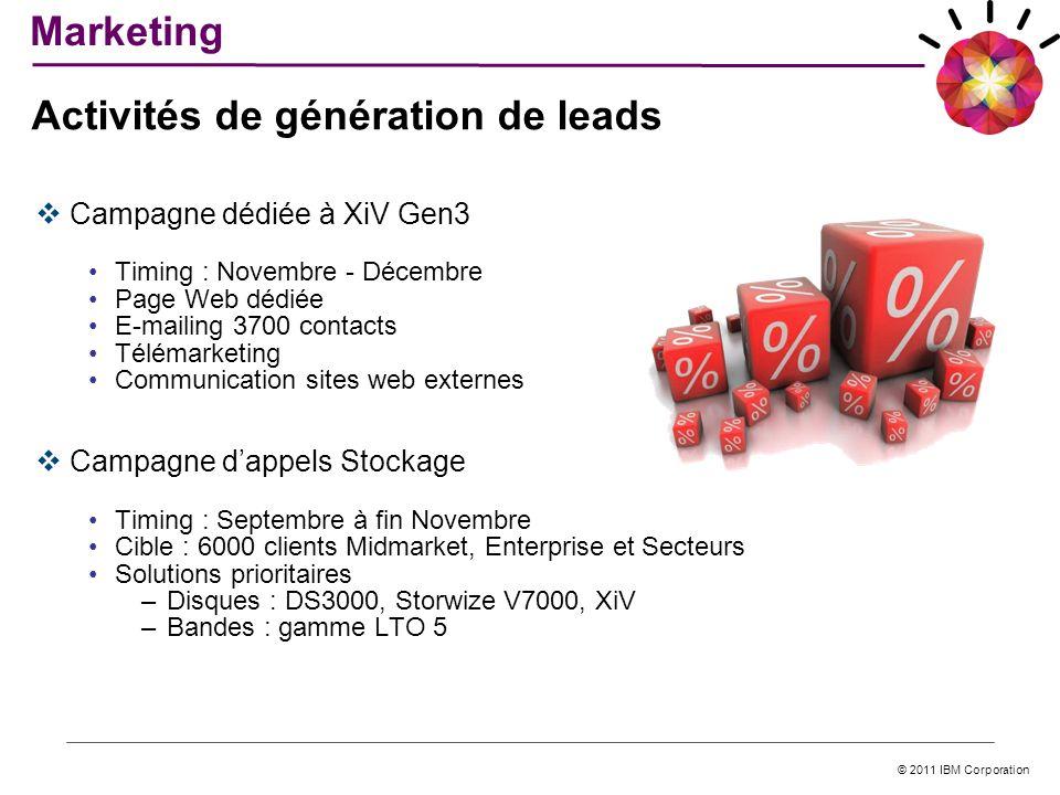 © 2011 IBM Corporation Campagne dédiée à XiV Gen3 Timing : Novembre - Décembre Page Web dédiée E-mailing 3700 contacts Télémarketing Communication sit