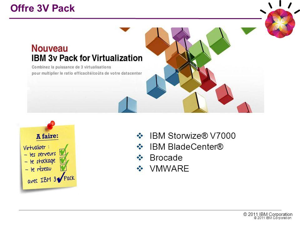© 2011 IBM Corporation IBM Storwize® V7000 IBM BladeCenter® Brocade VMWARE Offre 3V Pack
