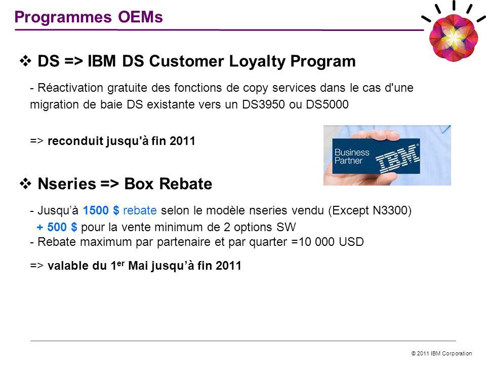 © 2011 IBM Corporation DS => IBM DS Customer Loyalty Program - Réactivation gratuite des fonctions de copy services dans le cas d'une migration de bai