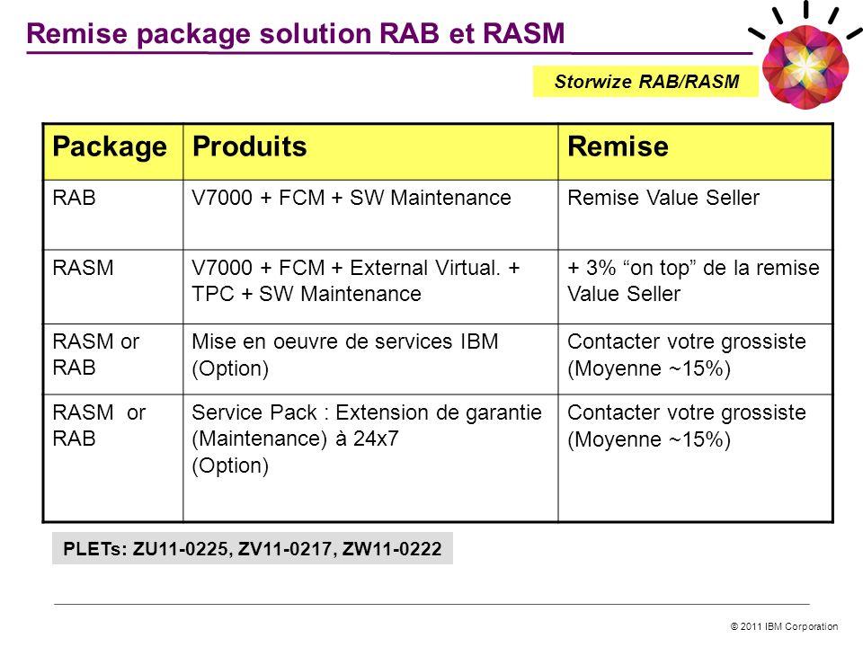 © 2011 IBM Corporation 26 Remise package solution RAB et RASM Storwize RAB/RASM PLETs: ZU11-0225, ZV11-0217, ZW11-0222 PackageProduitsRemise RABV7000