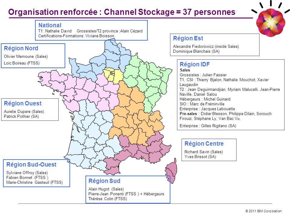 © 2011 IBM Corporation Organisation renforcée : Channel Stockage = 37 personnes Région Sud Alain Hugot (Sales) Pierre-Jean Ponenti (FTSS ) + Hébergeur