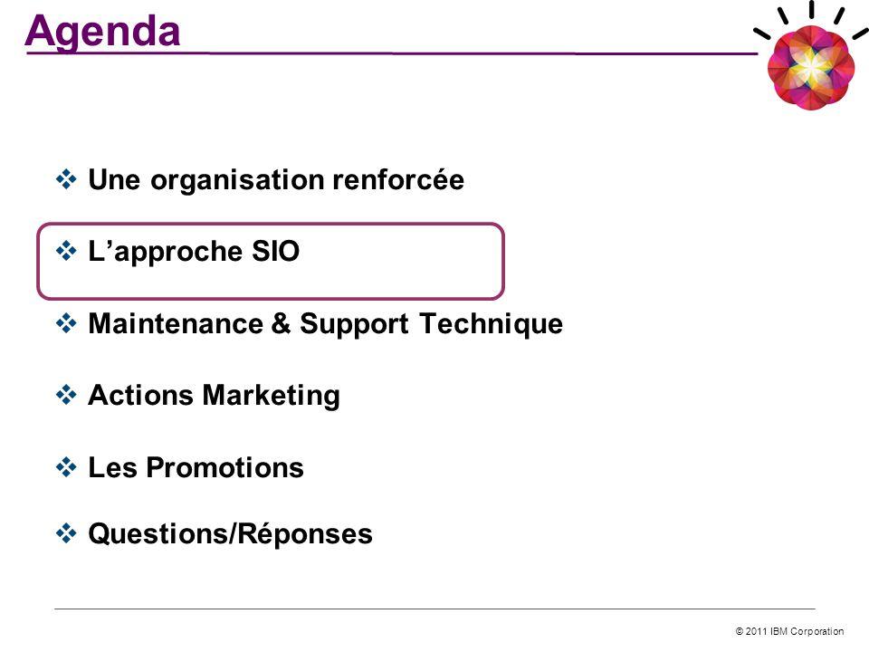 © 2011 IBM Corporation Une organisation renforcée Lapproche SIO Maintenance & Support Technique Actions Marketing Les Promotions Questions/Réponses Ag
