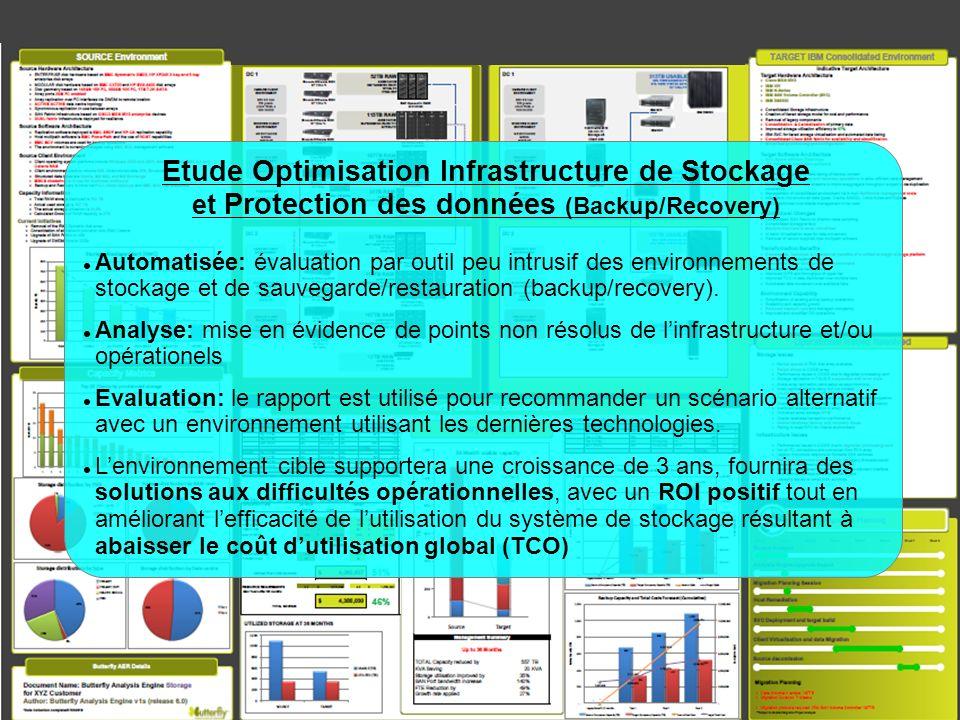 © 2011 IBM Corporation Etude Optimisation Infrastructure de Stockage et Protection des données (Backup/Recovery) Automatisée: évaluation par outil peu