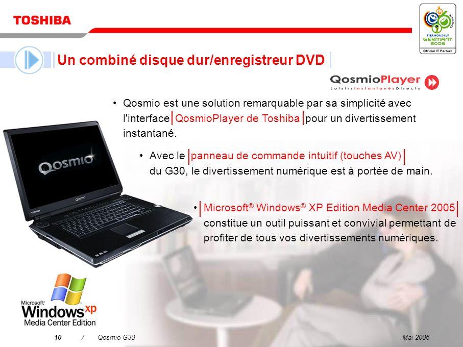 Mai 20069/Qosmio G30 Un téléviseur LCD Un combiné disque dur/enregistreur DVD Un système audio à effet surround virtuel Un ordinateur puissant et polyvalent Qosmio – votre solution 4-en-1 pour le divertissement numérique et l informatique mobile