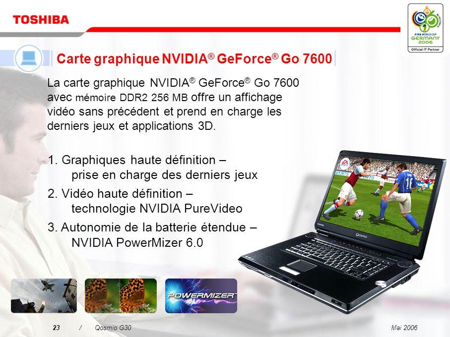 Mai 200622/Qosmio G30 Prise en charge Toshiba RAID Résumé des fonctions et avantages Prise en charge de RAID-1 –L utilisateur peut poursuivre ses activités sans temps d indisponibilité même en cas de panne d un disque dur (informatique fiable grâce à la technologie RAID-1).