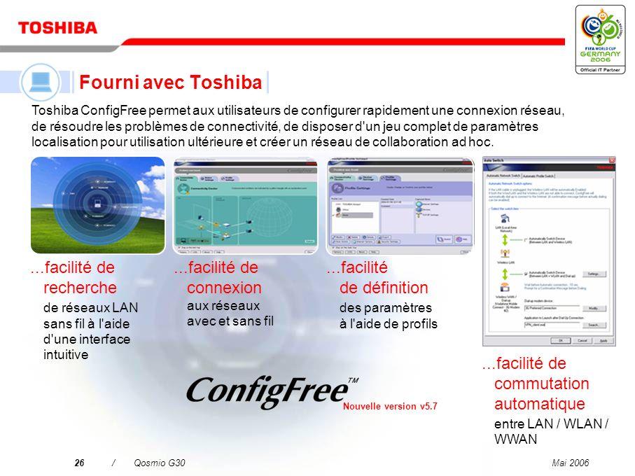 Mai 200625/Qosmio G30 Microsoft Office OneNote* 2003 pour une organisation rapide et facile des notes Sonic RecordNow.