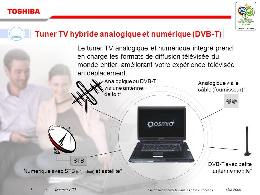 Mai 20065/Qosmio G30 Tuner TV hybride analogique et numérique (DVB-T) Le tuner TV analogique et numérique intégré prend en charge les formats de diffusion télévisée du monde entier, améliorant votre expérience télévisée en déplacement.