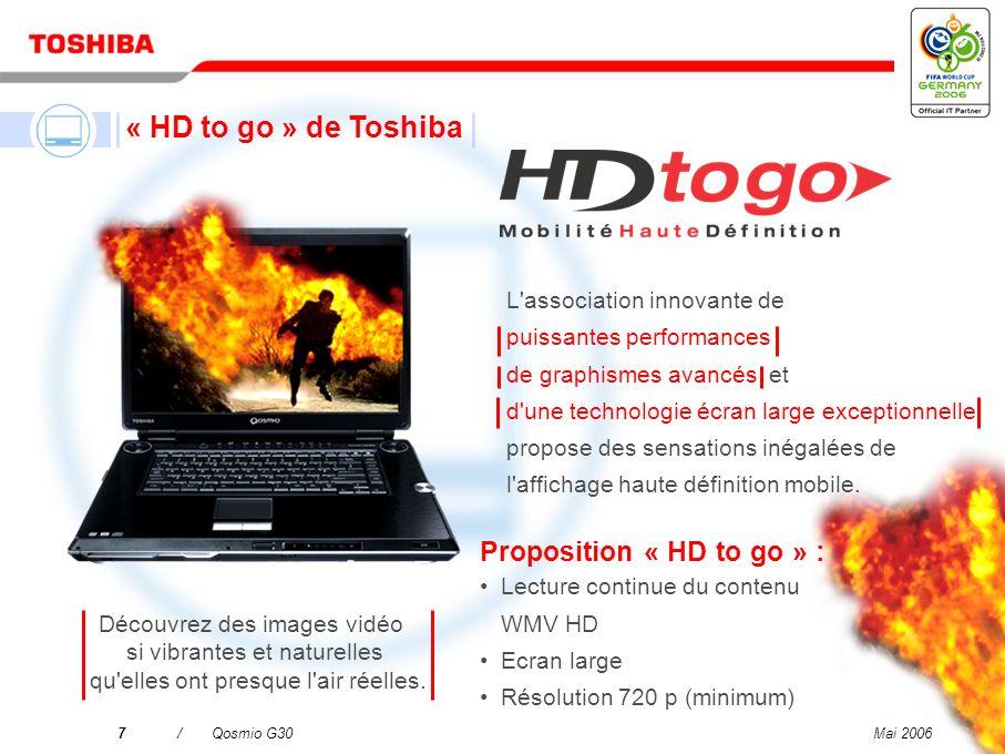Mai 200627/Qosmio G30 Le plus malin des centres de divertissement qui allie télévision, système audio, disque dur/enregistreur DVD et ordinateur Qosmio G30