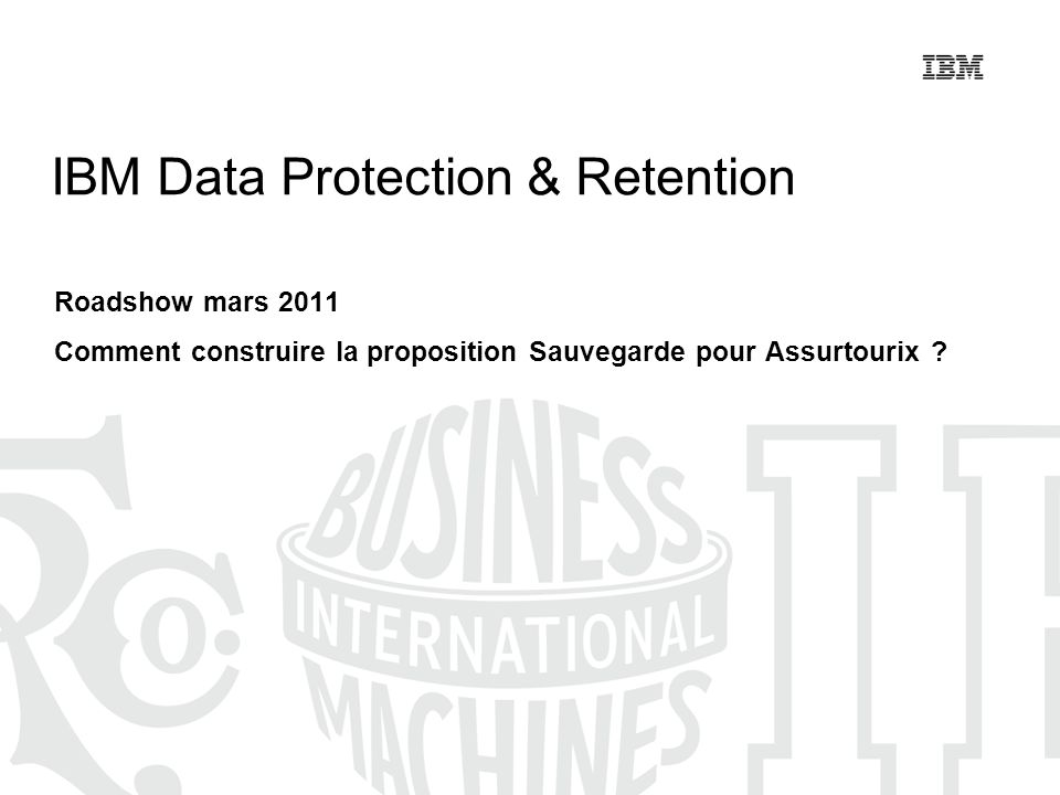 © 2011 IBM Corporation2 Rappel de vos challenges Environnement actuel (Rappels) 2,6 To à sauvegarder chaque jour (2 To/j en SAN et 0,6 To/j en NAS) Améliorations recherchées Manipulation de bandes Fenêtres de sauvegardes risquant de devenir trop courtes (linternalisation des opérations implique des systèmes opérationnels presque 24h/24) Un récent incident a entraîné une perte de données et un arrêt de production de près de 6h (cout estimé: 150 K) Réplication éventuelle des sauvegardes vers un site de secours (dans un avenir de 2 ans).