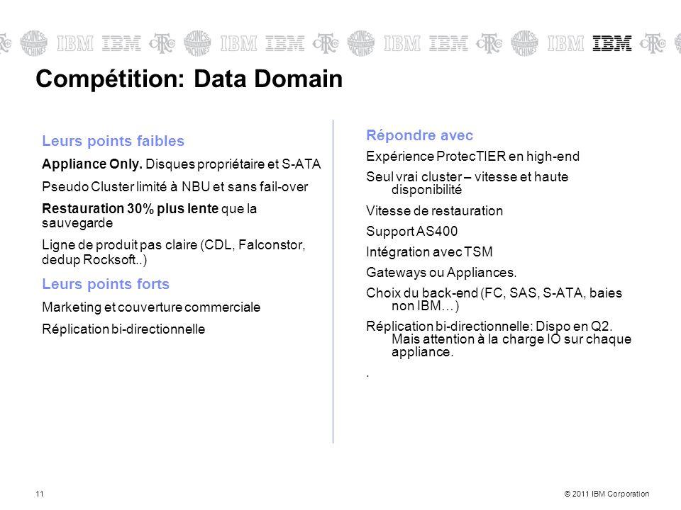 © 2011 IBM Corporation11 Compétition: Data Domain Leurs points faibles Appliance Only. Disques propriétaire et S-ATA Pseudo Cluster limité à NBU et sa