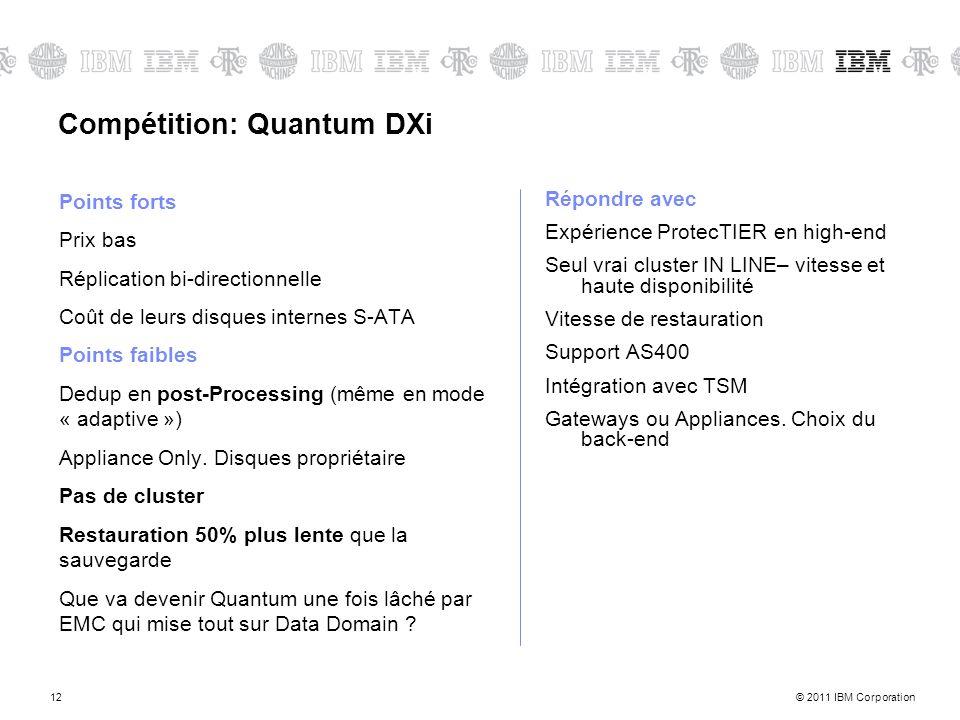 © 2011 IBM Corporation12 Compétition: Quantum DXi Points forts Prix bas Réplication bi-directionnelle Coût de leurs disques internes S-ATA Points faib