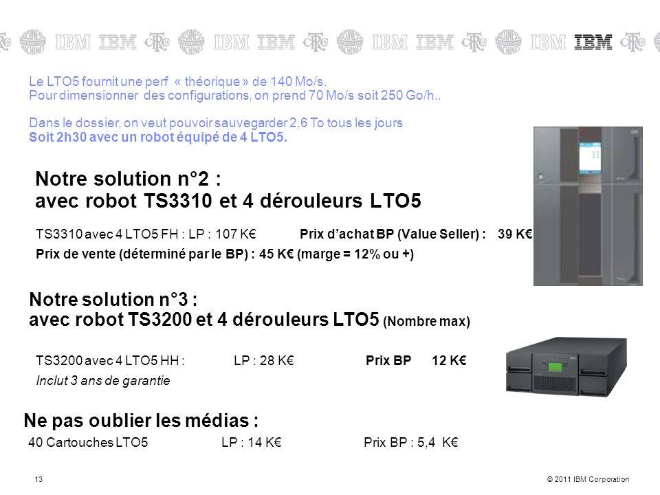 © 2011 IBM Corporation13 Notre solution n°2 : avec robot TS3310 et 4 dérouleurs LTO5 TS3310 avec 4 LTO5 FH : LP : 107 K Prix dachat BP (Value Seller)