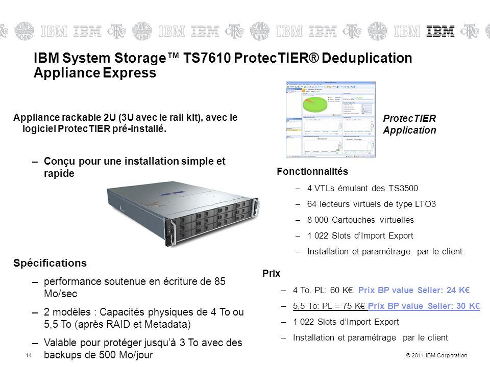 © 2011 IBM Corporation14 Appliance rackable 2U (3U avec le rail kit), avec le logiciel ProtecTIER pré-installé. –Conçu pour une installation simple et