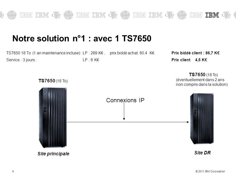 © 2011 IBM Corporation8 Notre solution n°1 : avec 1 TS7650 TS7650 (18 To) (éventuellement dans 2 ans non compris dans la solution) Site DR Site princi