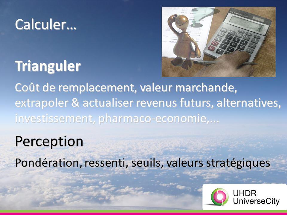 Calculer… Trianguler Coût de remplacement, valeur marchande, extrapoler & actualiser revenus futurs, alternatives, investissement, pharmaco-economie,...