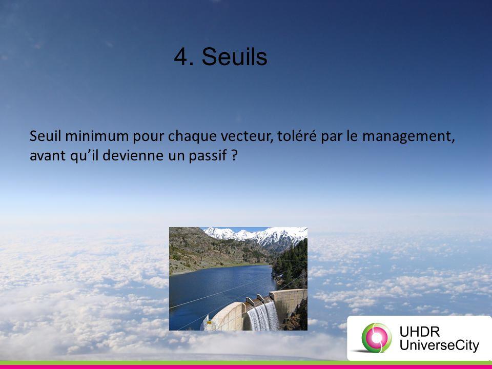 4. Seuils Seuil minimum pour chaque vecteur, toléré par le management, avant quil devienne un passif ?