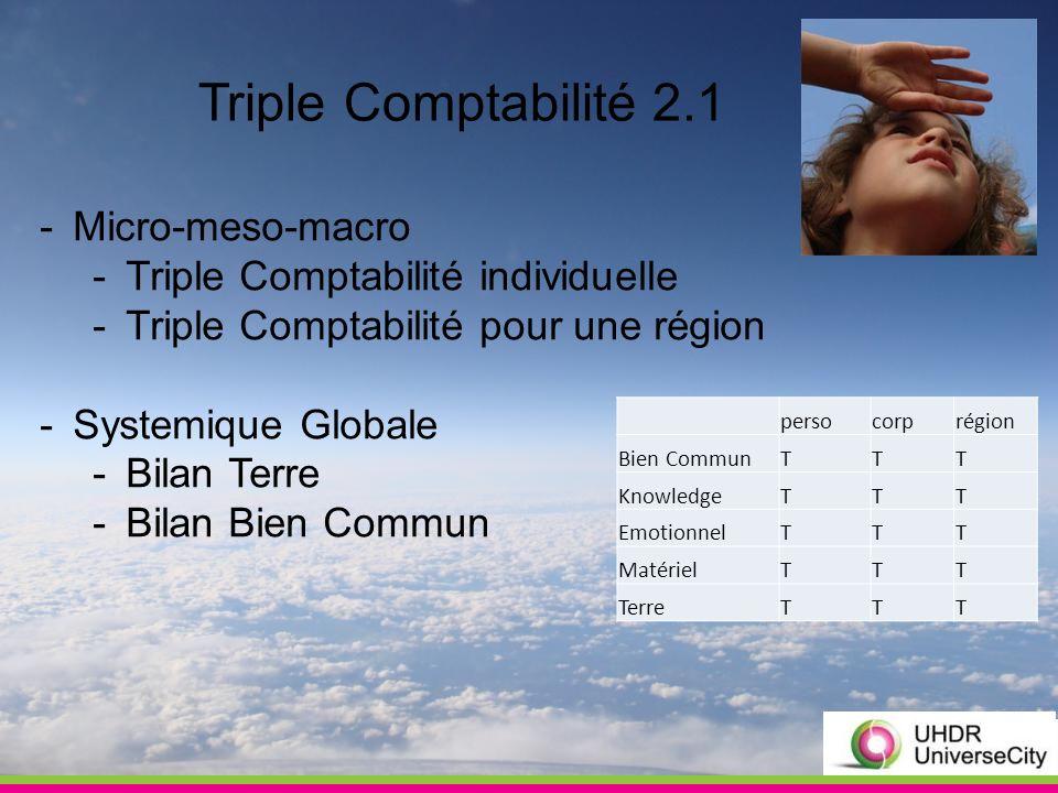 Triple Comptabilité 2.1 -Micro-meso-macro -Triple Comptabilité individuelle -Triple Comptabilité pour une région -Systemique Globale -Bilan Terre -Bilan Bien Commun persocorprégion Bien CommunTTT KnowledgeTTT EmotionnelTTT MatérielTTT TerreTTT