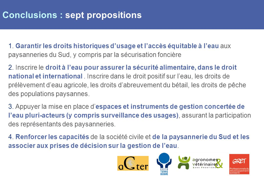 Page 10 Conclusions : sept propositions 1.