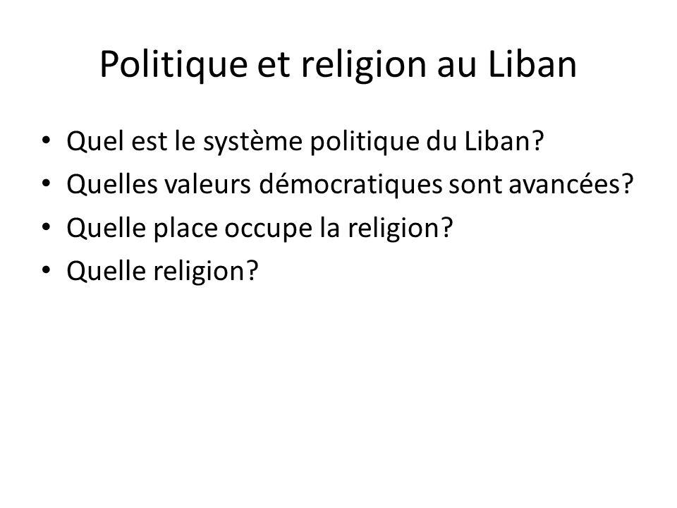 Politique et religion au Liban Quel est le système politique du Liban? Quelles valeurs démocratiques sont avancées? Quelle place occupe la religion? Q