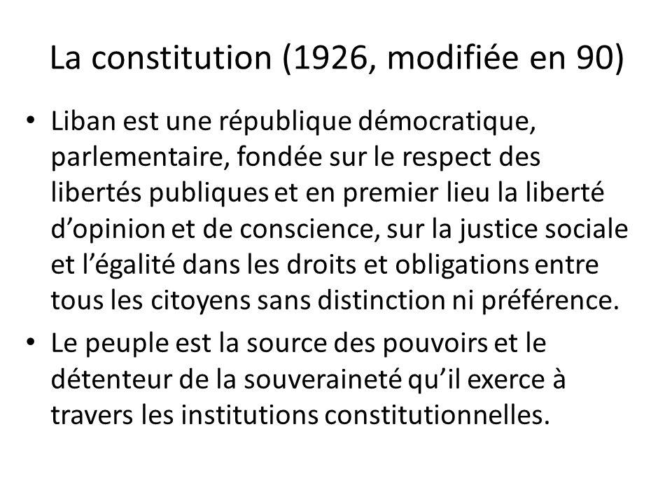 La constitution (1926, modifiée en 90) Liban est une république démocratique, parlementaire, fondée sur le respect des libertés publiques et en premie