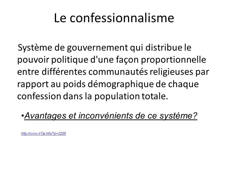 Le confessionnalisme Système de gouvernement qui distribue le pouvoir politique d'une façon proportionnelle entre différentes communautés religieuses