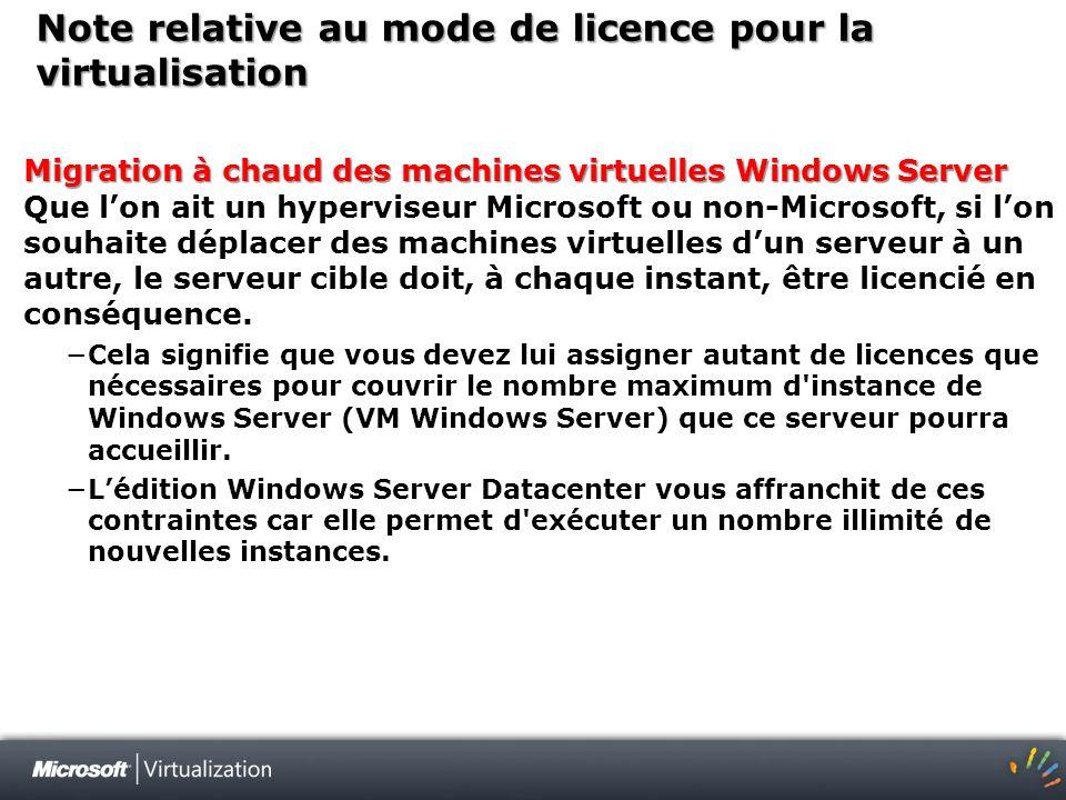 Note relative au mode de licence pour la virtualisation Migration à chaud des machines virtuelles Windows Server Migration à chaud des machines virtue