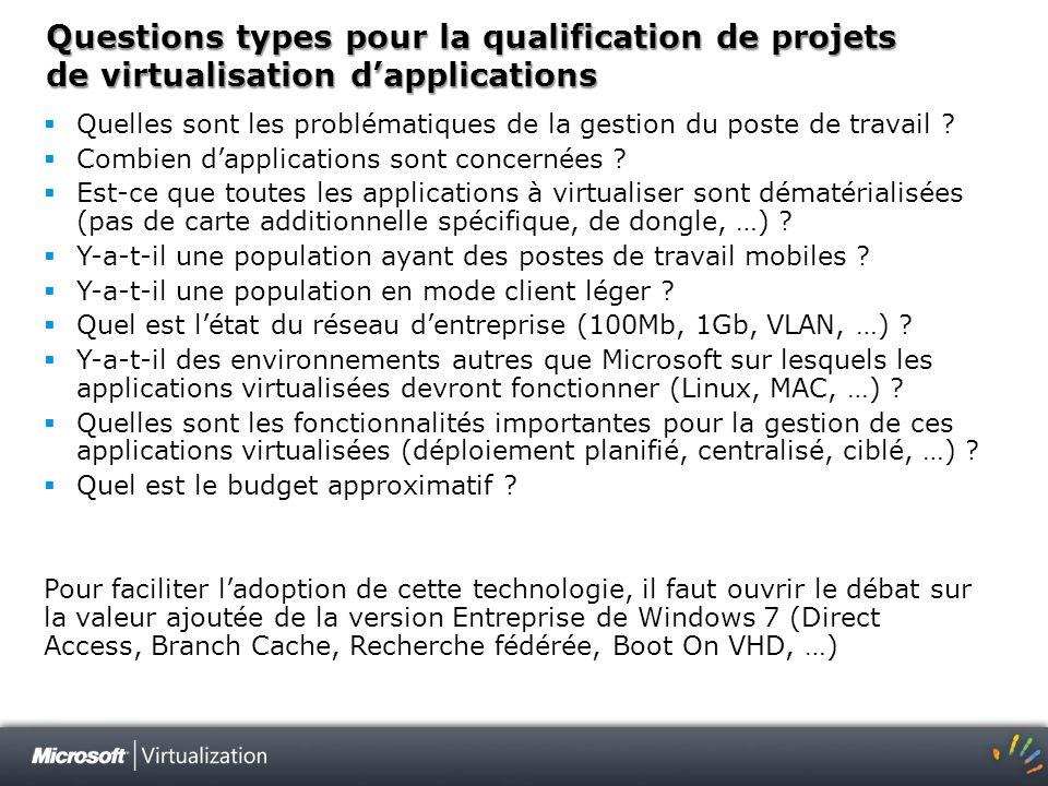 Questions types pour la qualification de projets de virtualisation dapplications Quelles sont les problématiques de la gestion du poste de travail ? C