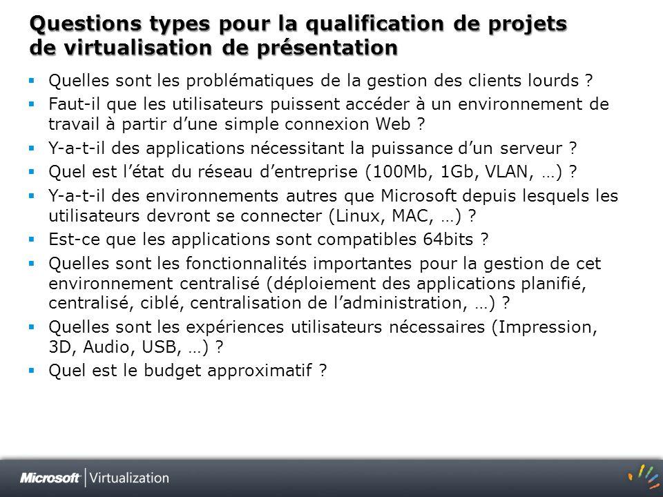 Questions types pour la qualification de projets de virtualisation de présentation Quelles sont les problématiques de la gestion des clients lourds ?