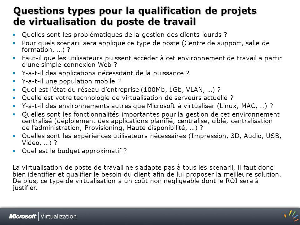 Questions types pour la qualification de projets de virtualisation du poste de travail Quelles sont les problématiques de la gestion des clients lourd