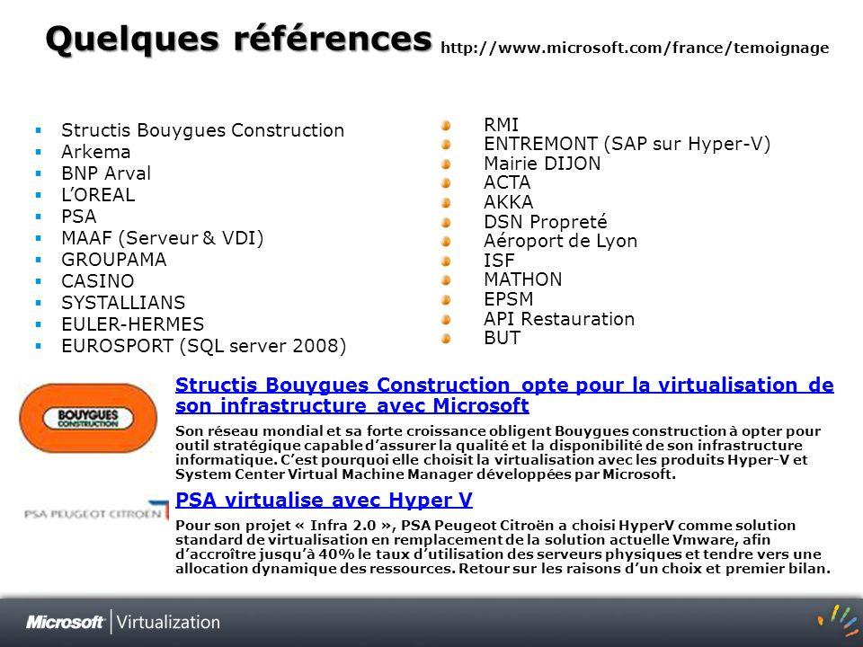 Quelques références Structis Bouygues Construction Arkema BNP Arval LOREAL PSA MAAF (Serveur & VDI) GROUPAMA CASINO SYSTALLIANS EULER-HERMES EUROSPORT