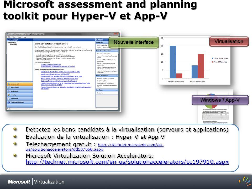 Microsoft assessment and planning toolkit pour Hyper-V et App-V Windows 7 App-V VirtualisationVirtualisation Nouvelle interface Détectez les bons cand