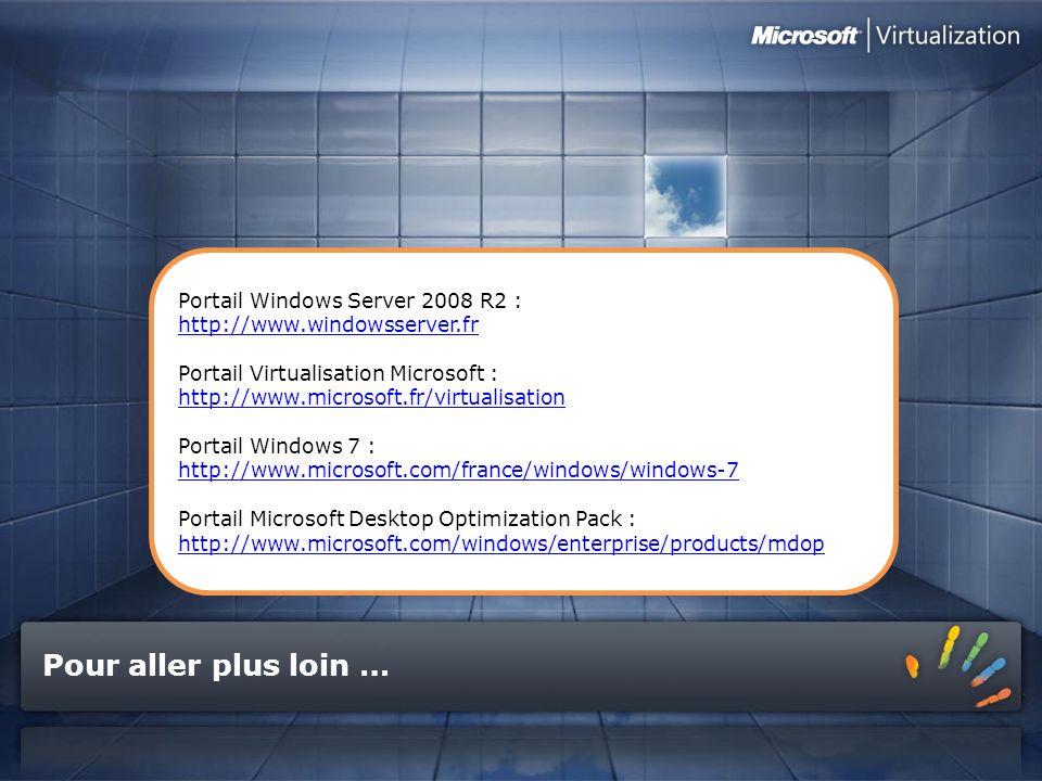 Pour aller plus loin … Portail Windows Server 2008 R2 : http://www.windowsserver.fr Portail Virtualisation Microsoft : http://www.microsoft.fr/virtual
