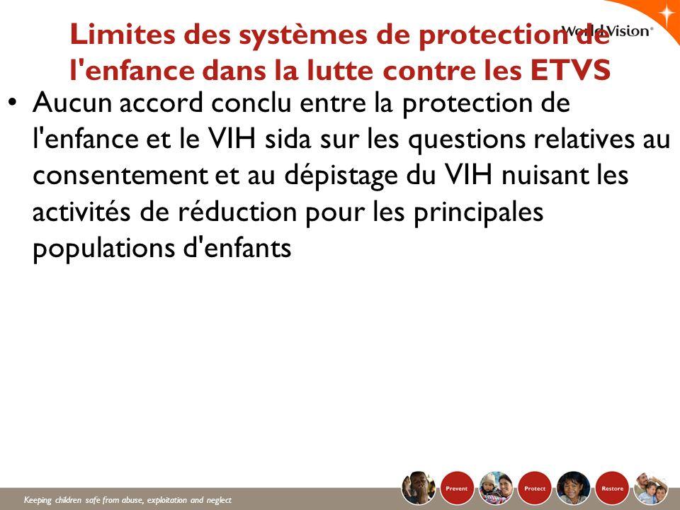 Keeping children safe from abuse, exploitation and neglect Limites des systèmes de protection de l'enfance dans la lutte contre les ETVS Aucun accord