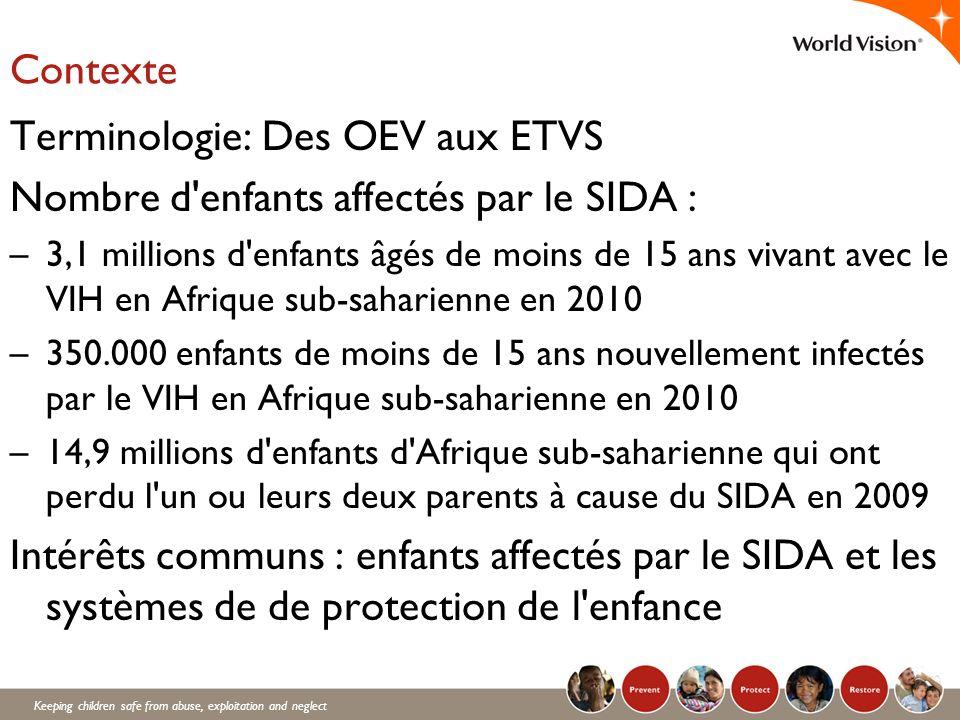 Keeping children safe from abuse, exploitation and neglect Contexte Terminologie: Des OEV aux ETVS Nombre d'enfants affectés par le SIDA : –3,1 millio