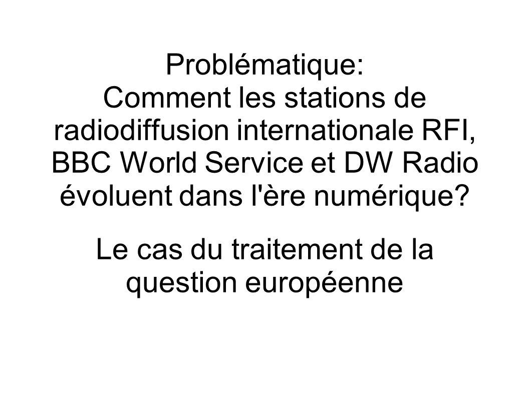 Problématique: Comment les stations de radiodiffusion internationale RFI, BBC World Service et DW Radio évoluent dans l ère numérique.