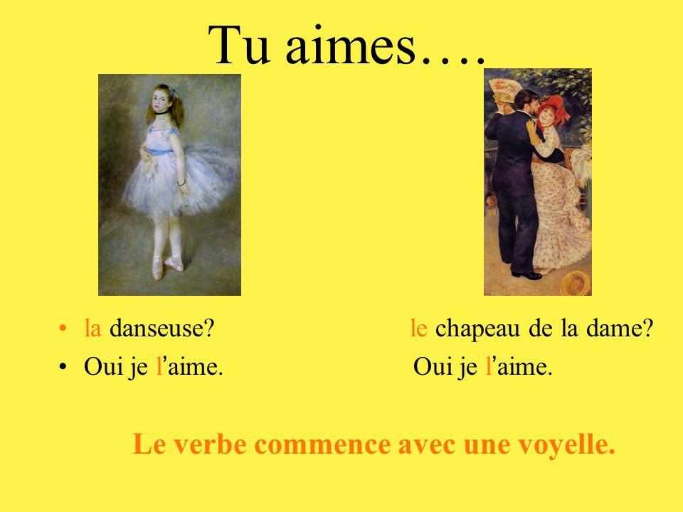 Tu aimes…. la danseuse? le chapeau de la dame? Oui je l aime. Le verbe commence avec une voyelle.