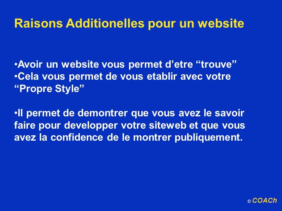 Raisons Additionelles pour un website Avoir un website vous permet detre trouve Cela vous permet de vous etablir avec votre Propre Style Il permet de