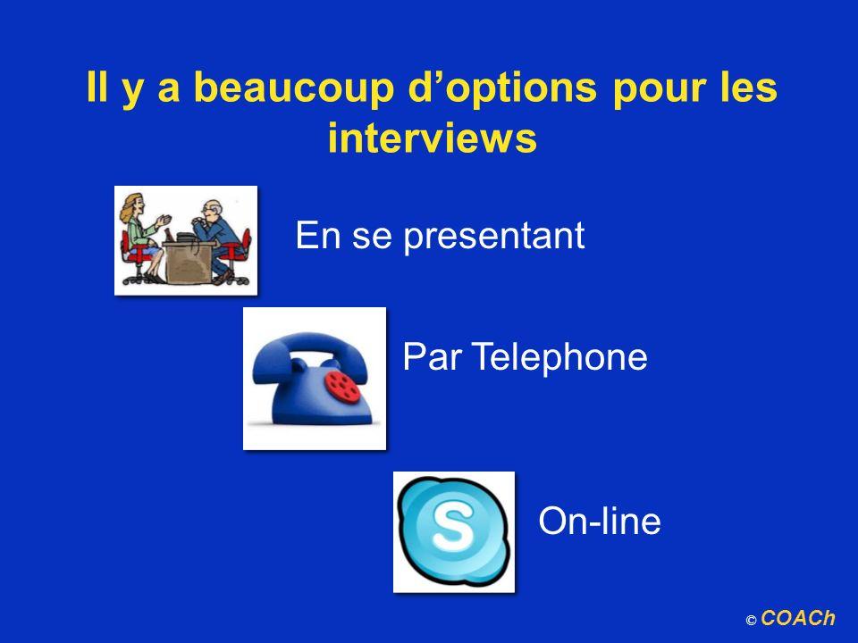 Il y a beaucoup doptions pour les interviews En se presentant Par Telephone On-line © COACh