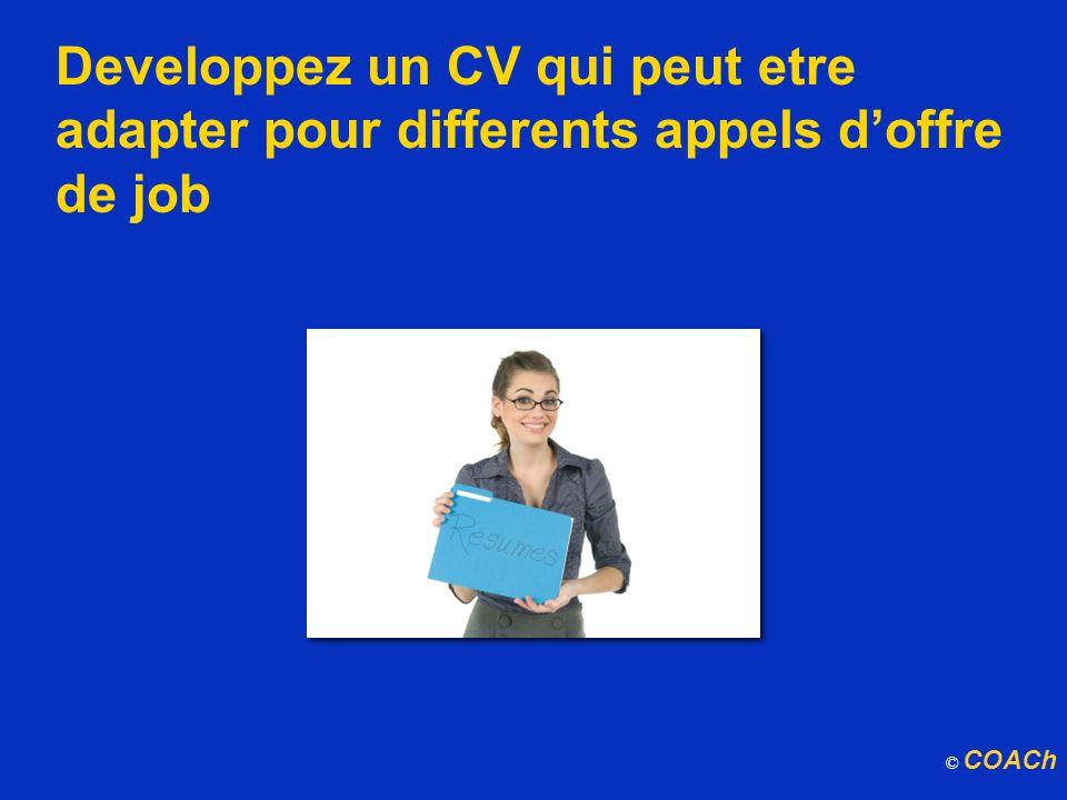 Developpez un CV qui peut etre adapter pour differents appels doffre de job © COACh