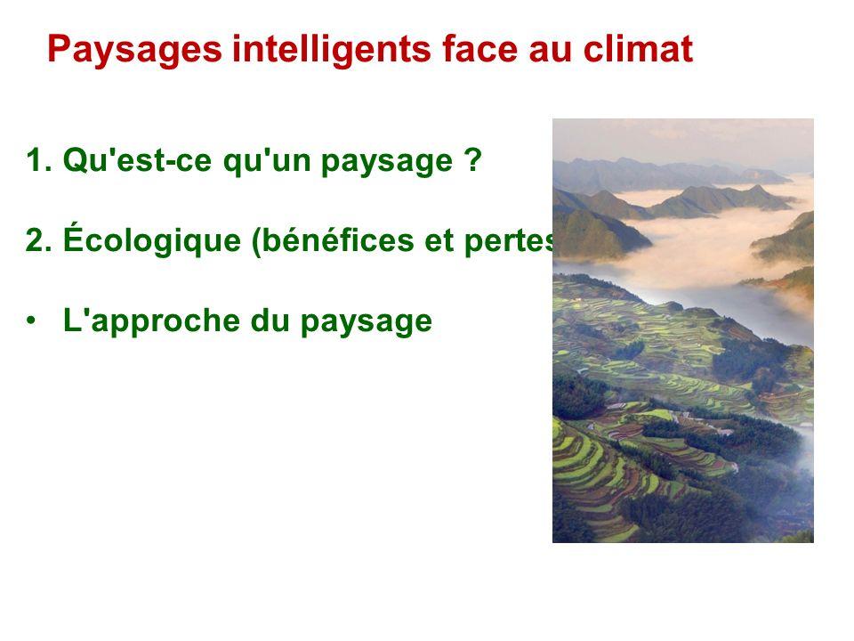1. Qu'est-ce qu'un paysage ? 2. Écologique (bénéfices et pertes) L'approche du paysage Paysages intelligents face au climat