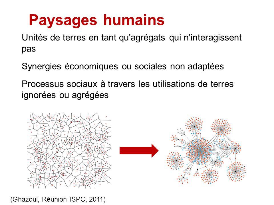 Paysages humains Unités de terres en tant qu'agrégats qui n'interagissent pas Synergies économiques ou sociales non adaptées Processus sociaux à trave