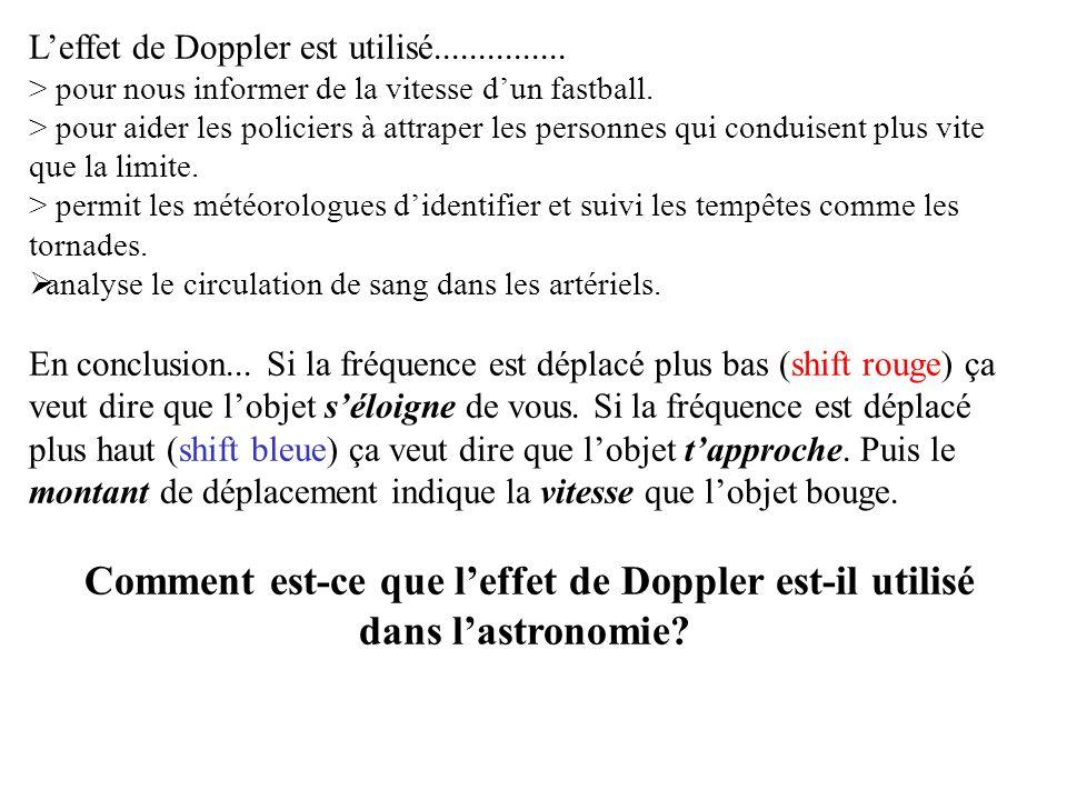 Doppler Effect La déplacement des longueurs des ondes peuvent apparaitre avec les sons et aussi avec la lumière.