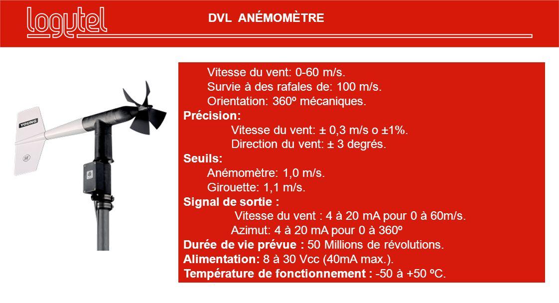 12 Vitesse du vent: 0-60 m/s. Survie à des rafales de: 100 m/s. Orientation: 360º mécaniques. Précision: Vitesse du vent: ± 0,3 m/s o ±1%. Direction d